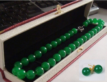 Made in China 18ELEGANT HUGE 12MM NATURAL CIRCULAR AAA+++ GREEN stone NECKLACE-earring gift