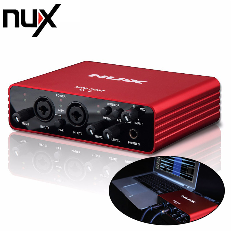 NUX UC-2 Mini Port USB XLR 6.35mm Input Output Audio Interface UC2 UC for Mic MIDI Instrument Recording Playback nux pmx 2 multi channel mini mixer 30
