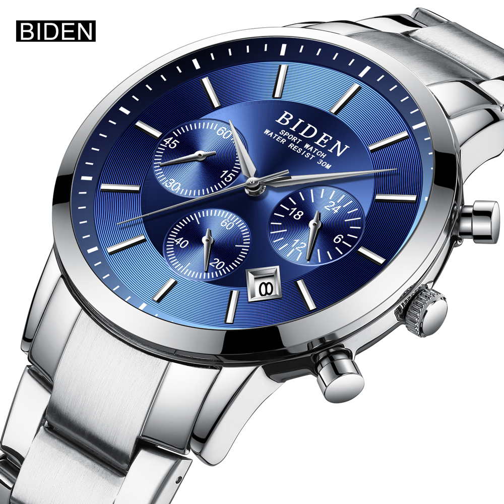 BIDEN Top Brand Men Fashion Sport Quartz Watches Clock Luxury Full Steel Waterproof Business Wrist Watch Relogio Masculino