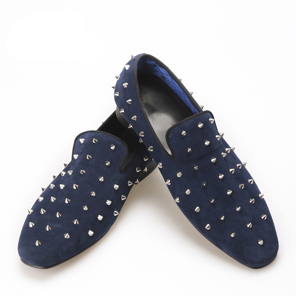 summer style Handmade Navy Suede men shoes with Silver Rivet Fashion smoking slipper Prom  Banquet loafers men dress shoes