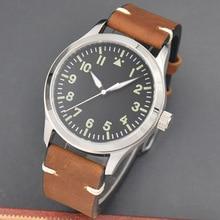 42mm Corgeut/sterylna tarcza/zegarek szafirowe szkło czarna tarcza automatyczny mechaniczny męski zegarek