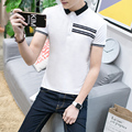 Letter Hem Short Sleeve mens polo shirts 2017 New Fashion Summer Slim Fit Contrast Color Collar brand-clothing