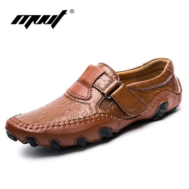 MVVT Resortes Más El tamaño de los hombres mocasines zapatos de cuero Genuinos de los hombres pisos Comodidad suave de cuero ocasionales de los hombres zapatos de los nuevos hombres del estilo zapatos