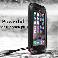 Love Mei Waterproof Shockproof Rugged Tempered Glass Small Waist Metal Aluminum Case For Apple Iphone 6 plus For Iphone6 plus