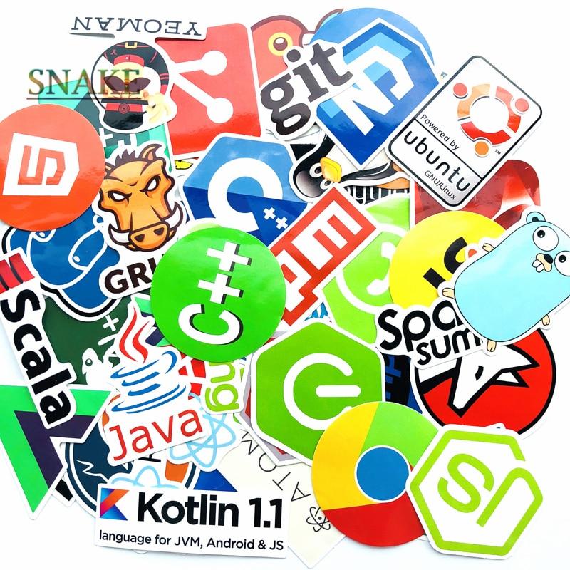 50 Pcs Internet Java JS Php Html Cloud Docker Bitcoin Programming Language HOT