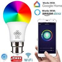B22 Smart Remote Bluetooth волшебный светодиодный rgb лампочки 16 Цвет изменение затемнения Smart WI-FI штепсельная розетка стандарта Великобритании для Alexa ...