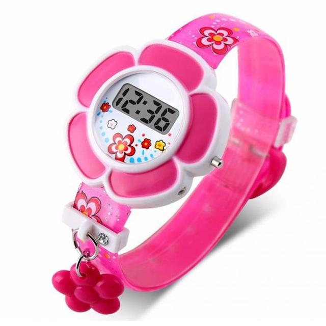 Children Watches Cute Flower Cartoon Silicone Digital Wristwatch Clock for Fashi