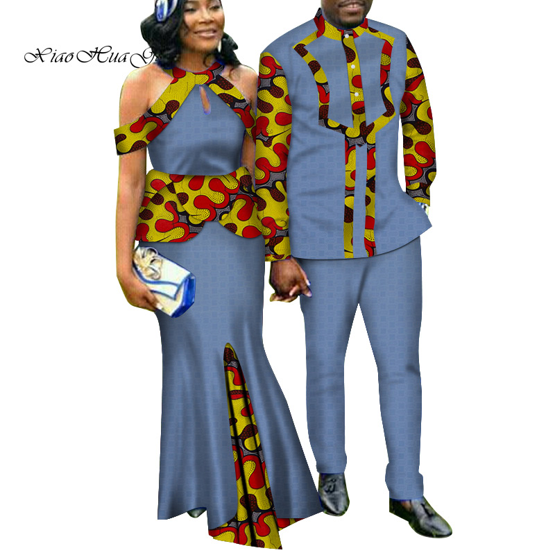 Two Piece Set African Dashiki Print Couple Clothing for Lovers Men's Suit Plus Women's Party Maxi Dress WYQ188 - 6