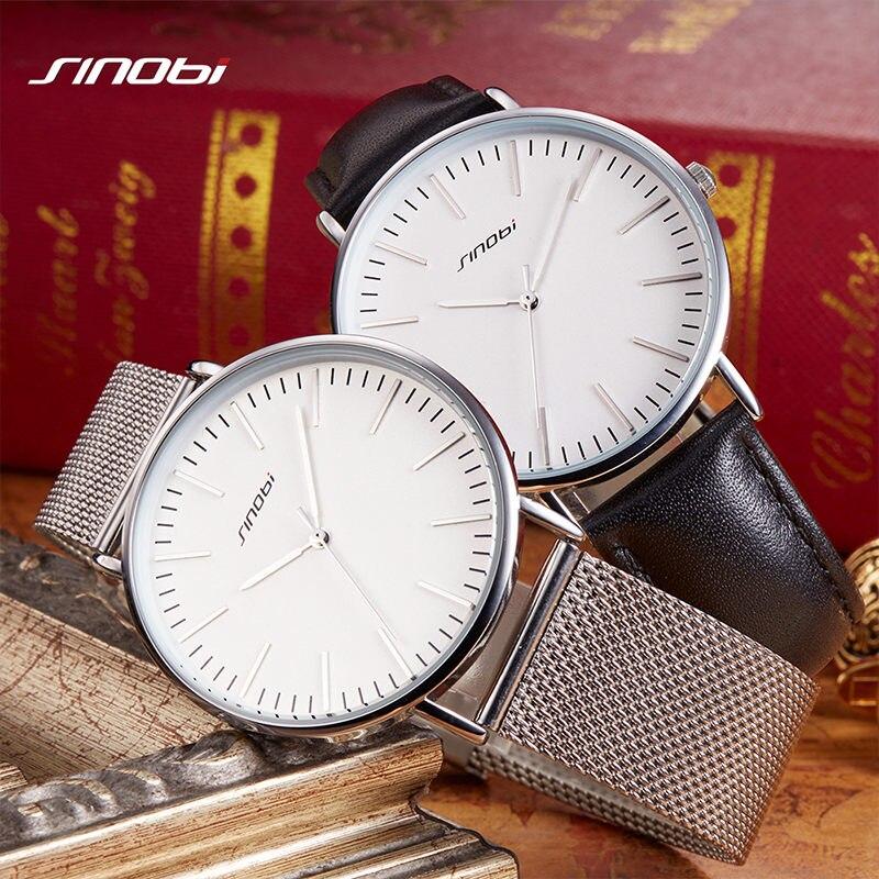 SINOBI 7.5MM Ultra-thin Dial Mens Watches Top Brand Luxury Genuine Leather Strap Quartz Watch Men Fashion Relogio Masculino L69 weiqin w3224 shell dial ultra thin ceramic women quartz watch