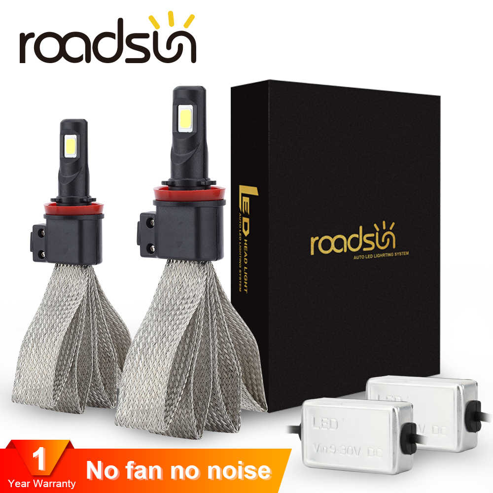 Roadsun S7 רכב פנס נורות LED H7 H4 9005 H11 H8 H9 HB1 H1 HB3 9006 9007 880 H27 12V 55W 6000K 12000LM מנורה אוטומטי הנורה אור
