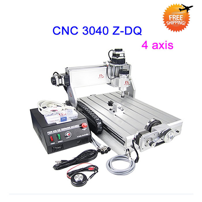 Free ship CNC Engraver 3040 Z-DQ Milling Machine with rotary axis, ball screw, tool auto-checking tool for 3d cnc,factory sale free shipping cnc 3040 z dq 4 axis 3d wood engraving machine pcb carving router with ball screw tool auto checking instrument