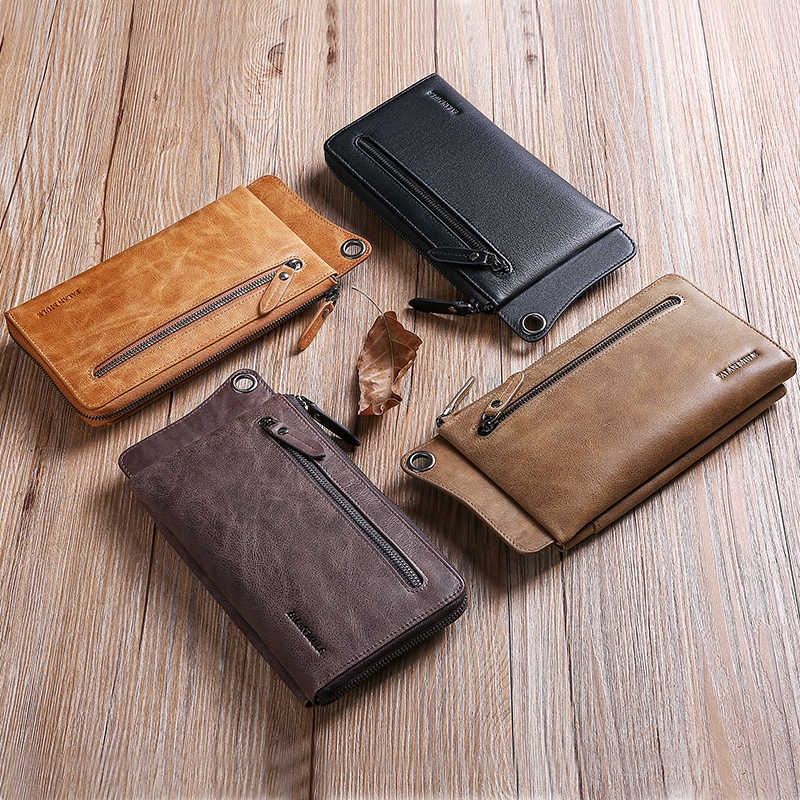 SENDEFN Genuine Leather Men's Wallets Ultrathin Long Slim Wallet Men Card Holder Leather Wallet Coin Pocket Purse 1326-6