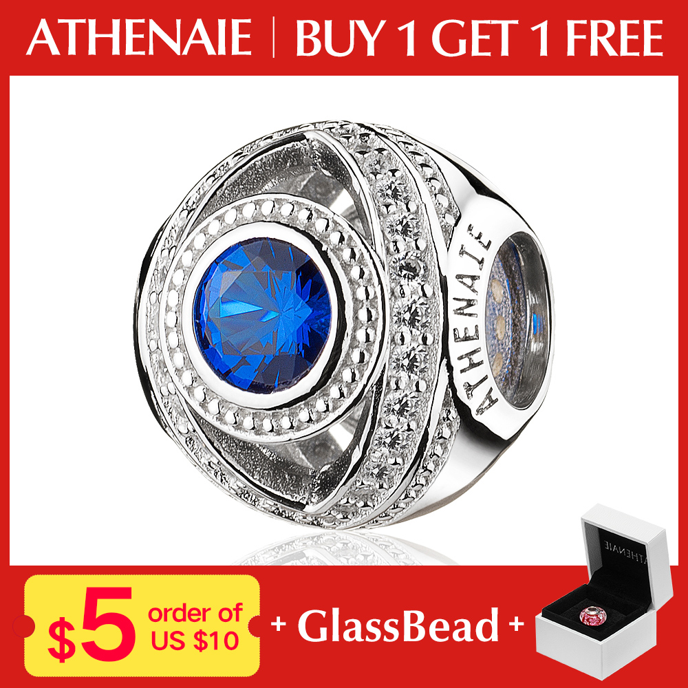 527b0b5a465e ATHENAIE 925 Sterling Silver Watchful Eye Blue Clear CZ Bead Charms Fit All  European Bracelets