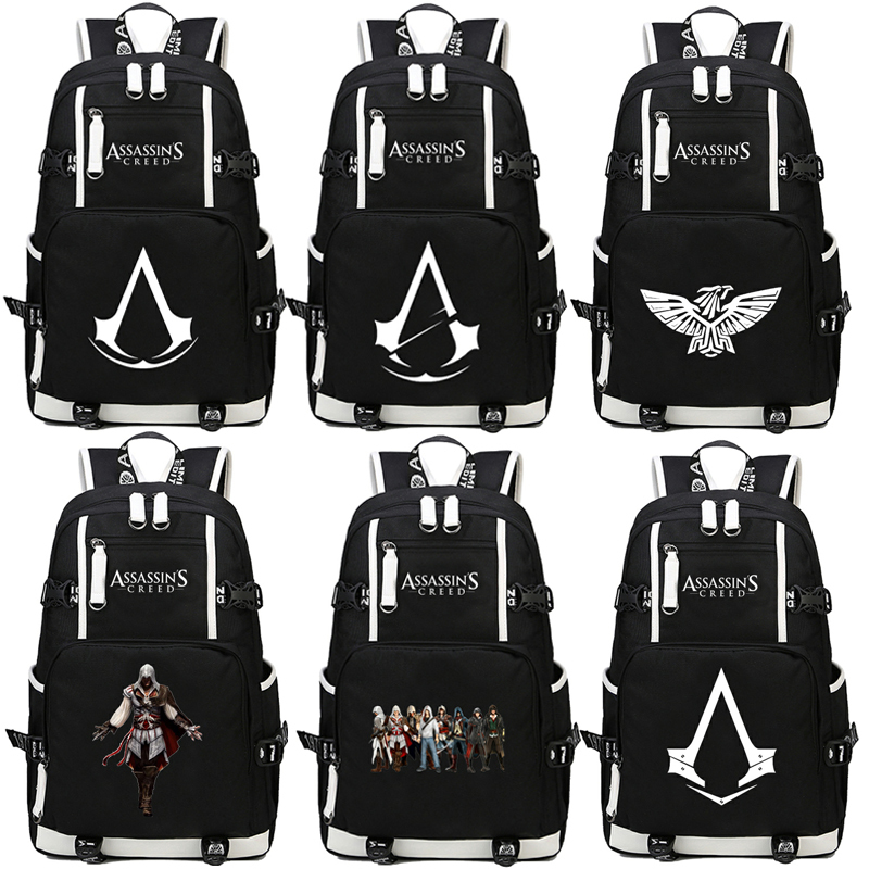 HOT Game Assassins Creed casual backpack teenagers Men women Student School Bags travel Shoulder Bag Laptop Bags bookbag new fashion assassins creed luminous backpack boy girl school bags for teenagers casual bag game canvas backpacks