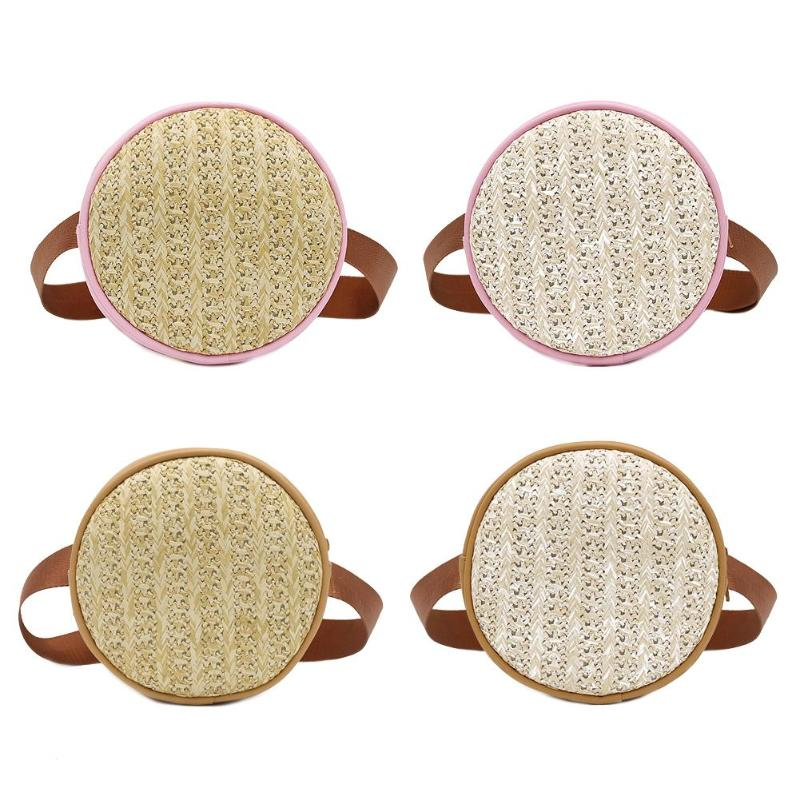 Small Straw Shoulder Women Waist Fanny Belt Packs Leather Round Chest Bags