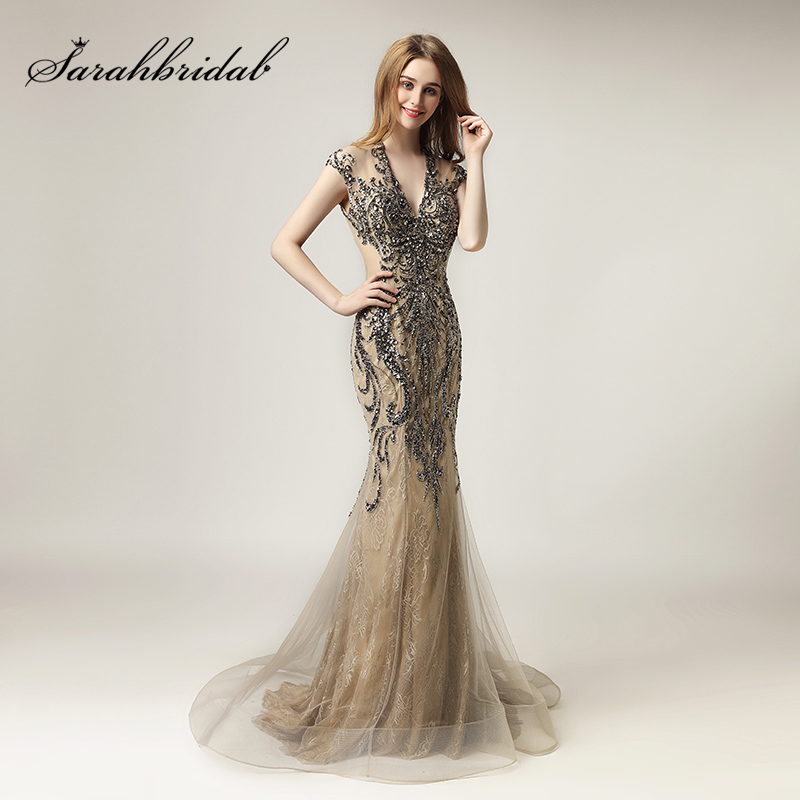 2018 Unique Shining Crystal Celebrity Dresses In Stock Luxury Women Fashion Tulle Dress Long V-Neck Gala Party Gowns OL430(China)