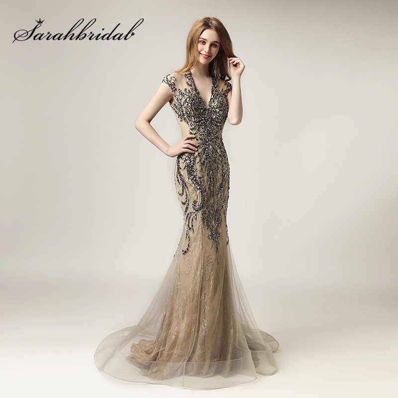 59d0b0cb44f 2018 Unique Shining Crystal Celebrity Dresses in Stock Luxury Women Fashion  Tulle Dress Long V-
