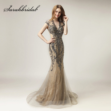 Unique Shining Crystal Celebrity Dresses in Stock Luxury Women Fashion Mermaid Tulle Dress Long V Neck Gala Party Gowns LX430