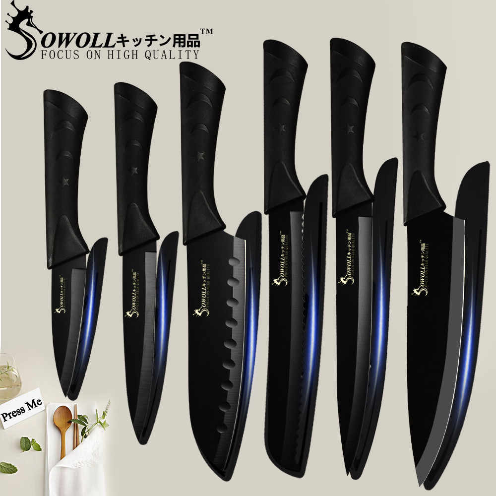 SOWOLL Stainless Steel Kitchen Knife 3.5'' 5'' 7'' 8'' Paring Utility Santoku Slicing Bread Chef Knife Meat Fish Kitchen Gadgets