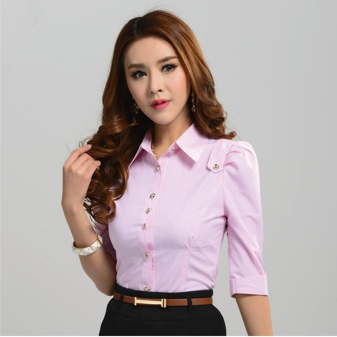 5b68185a5444 New 2015 Spring Summer Formal Shirts Women Work Blouses Stripes Cotton  Fashion Office Ladies Shirts Female Tops Blue-in Blouses & Shirts from  Women's ...