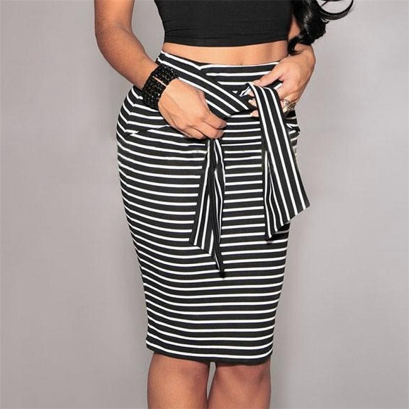 Black and White Drawstring Striped Twin zipper Slim Pencil Vintage Skirts 2017 Spring/Summer European Style Skirt F&R020