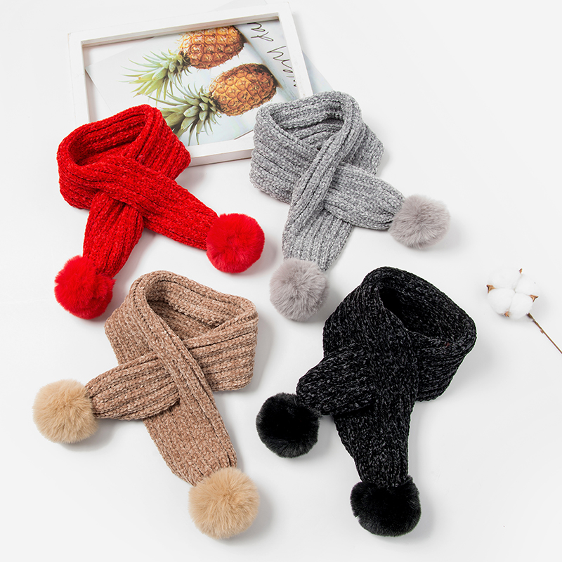 Lovely Kids Soft Winter Scarf Pompom Baby Scarf Boys Girls Warm Neck Scarves Knitting With Fur Ball Neckerchief Foulard Moderate Price Apparel Accessories