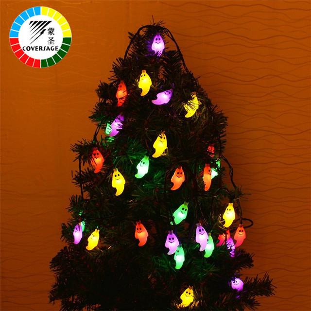 coversage 30 leds solar powered garland halloween outdoor string lights starry lighting christmas tree xmas curtain - How To String Lights On A Christmas Tree