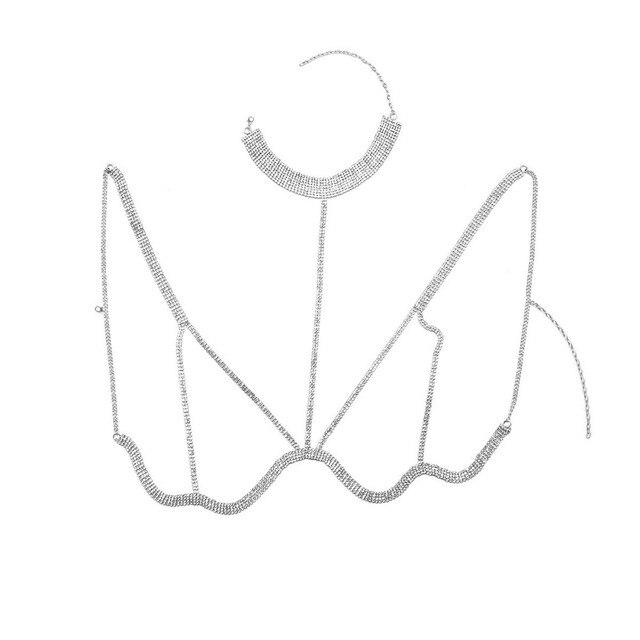 Rhinestone Multilayer Rows Crystal Bra Chain5