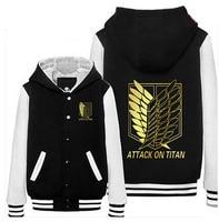 Attack On Titan Winter Jacket Shingeki No Kyojin Scratched Velvet Fashion Casual Hoodies Sweatshirt Cosplay Anime