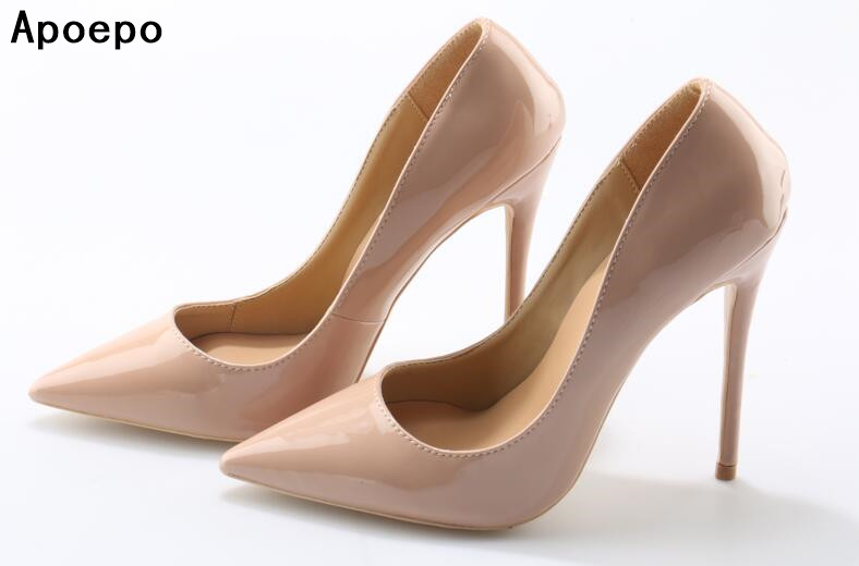 Apoepo Women High Heel Pointed Toe Slip On Sexy Pumps Nude High Heel Wedding Bride Shoes Concise Style Stilettos M063 new arrival women sky blue high heel slip on sexy stilettos white cloud decoration cute bride shoes wedding women stilettos pump