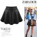 Brand new 2016 summer fashion faldas de cuero de LA PU de las mujeres más el tamaño por encima de la rodilla mini falda Negro Marrón S M L XL XXL W010
