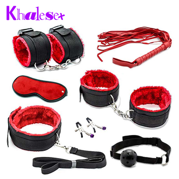 New Sexy 7 Pcs/Set Kit Fetish Sex Bondage Sex Toys for Couples, Nipple Clamps Foot Handcuff Ball Gag Whip Collar Eye mask