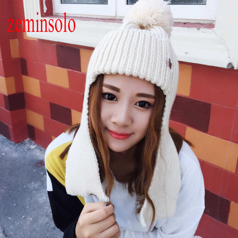 Brand New Colorful Snow Caps Wool Knitted Beanies Hat Female Winter Warm Ears Hats Fur Pom Pom For Women Hip Hop Skullies Cap hot skullies beanies winter hat pom pom caps for women girl vintage solid hemming warm spring autumn hat female wsep21