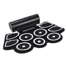 High quality Electronic Roll Up Drum Pad Set 9 Silicon Pads Built-in Speakers with Drumsticks Foot Pedals(China)