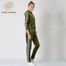 a99238902245 Chictorso 2018 NEW fashion Casual Women Suit Velvet Tracksuit Two Piece Set  Sweatshirts Sexy Long Sleeve