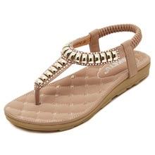Nice New Arrival Women Sandals Fashion Women Shoes Rhinestone Metal Cow Muscle Flat Heel Flip-Flops Flats Beach Shoes Plus Size