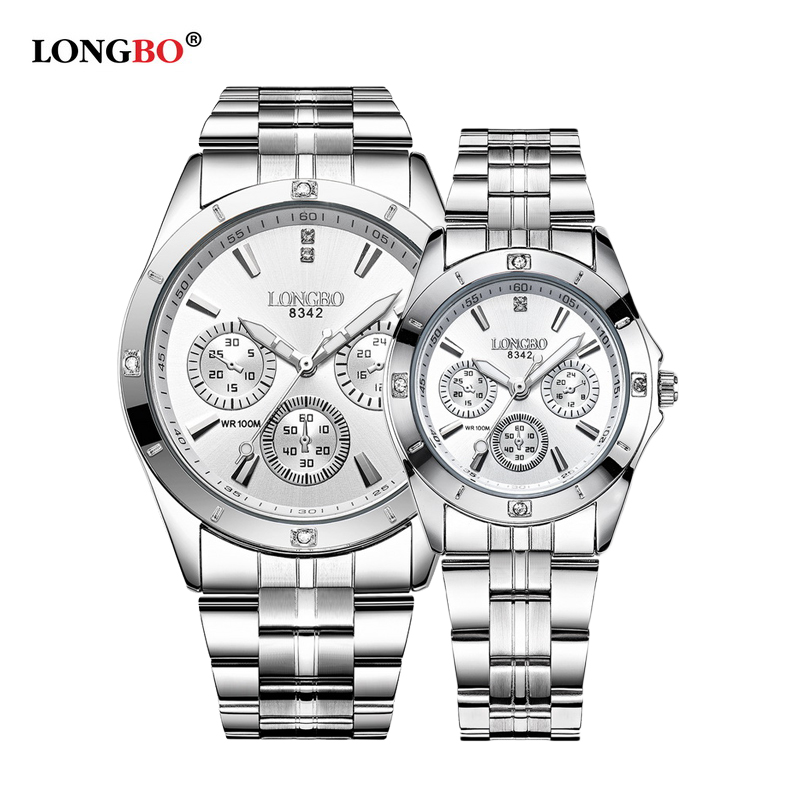LONGBO Couple Watches Men Women Simple Watch Stainless Steel Band Quartz Unique Design Wrist Watch Casual