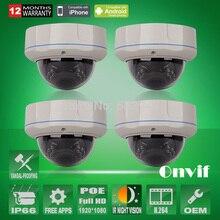 4 ШТ. 1080 P Full HD Sony COMS Камеры Безопасности Открытый Антивандаль Сетевая Купольная POE, Ip-камера
