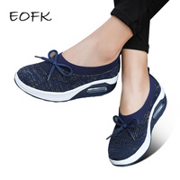 8838ef497 EOFK 2019 Women Platform Shoes Woman Flat Loafers Platform Slip Ons Bow  Knot Ladies Casual Shoes. Mulheres Sapatos de Plataforma Mulher ...