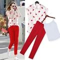 2016 EUROPE women red lips t shirt +long pant Fashion Three-piece suit