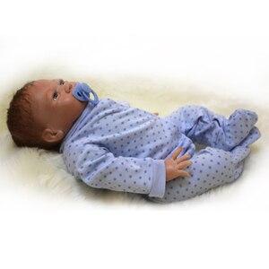 Image 4 - Boneca bebê bonito de 20 polegadas, 48 50cm, silicone macio, renascido de brinquedo menino ou menina, boneca para presente roupas azuis