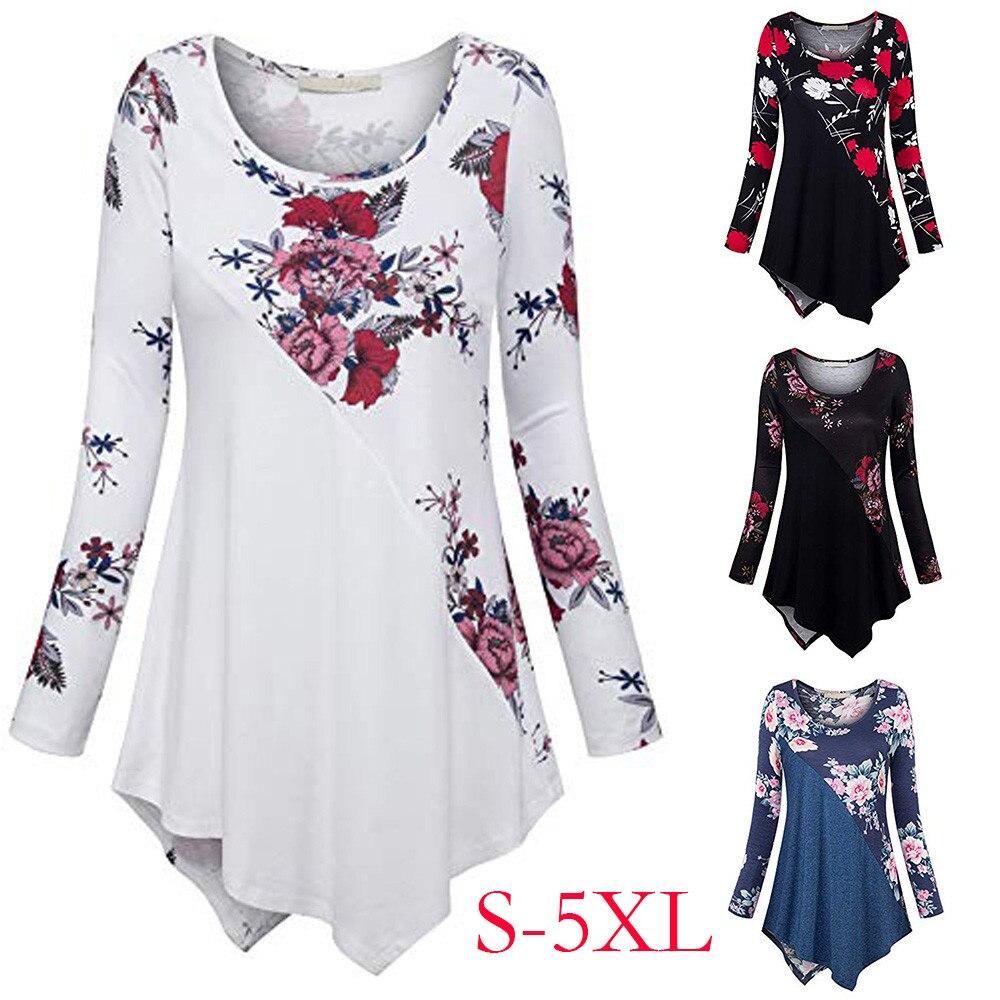 Neue Ankunft Stil T Hemd Frauen Plus Größe 5xl Lange Hülse Druck Oansatz Pullover Tops T Shirt Schwarz/weiß /blau/rot Farben #25 Frauen Kleidung & Zubehör Oberteile Und T-shirts