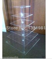 Event Party Supplies 6 Tier Clear Square Acrylic Party Cup Cake Stand 4mm Acrylic Wedding Decoration