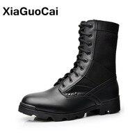 XiaGuoCai Motocicletas Homens de Alta Qualidade Botas Sapatos masculinos Outono Sapatas das Botas de Moda Britânica Cara Durão Militar Do Exército Tático