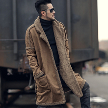 2018 Metrosexual man new design winter long furry coat warm plush cardigan men slim fashion European style black cotton cardigan