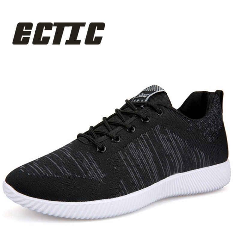 2071f279 ECTIC 2018 модные мужские кроссовки удобные легкие Нескользящие  повседневные туфли дышащие сетчатые тканевые туфли AA-