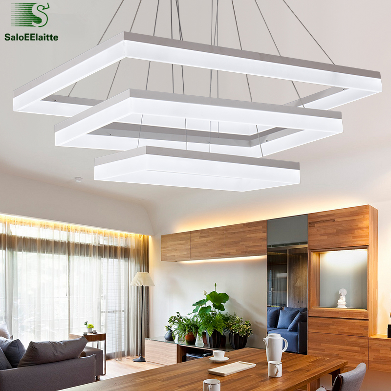 Modern Rectangle Led Acrylic Pendant Lights Chrome Aluminium Dimmable Led Pendant Lamp For Living Room Minimalism luminaria Lamp 50cm aluminium luz pendente modern lamp designs ph artichoke pendant lights for home white luminaria 110v 220v