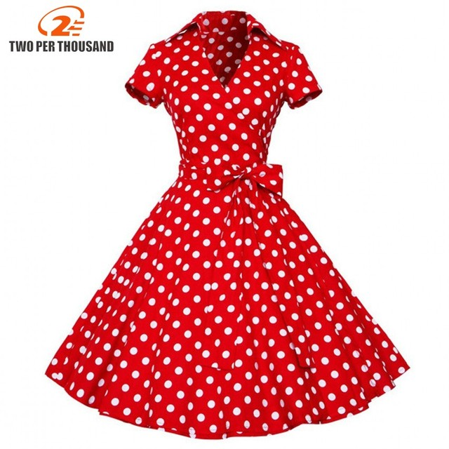 2XL plus size 2018 Summer Women Retro Vintage Pin Up Dresses 50s 60s Polka dots Cotton Dress Short sleeve Vestido de fiesta