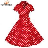 4XL plus größe 2018 Neue Sommer Frauen Retro Vintage Pin Up kleider 50 s 60 s tupfen Baumwolle Kleid kurzarm Vestido de fiesta