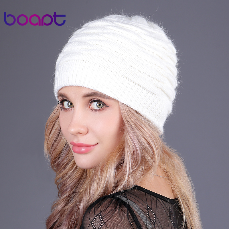 [boapt] soft rabbit double knitting thick bonnet beanie caps solid warm winter hats for women's cap skullies beanies female hat
